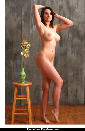 Jacqueline - Pretty Topless & Glamour Brunette with Pretty Bare Natural Hooters, Long Nipples, Tan Lines (Sexual Picture)