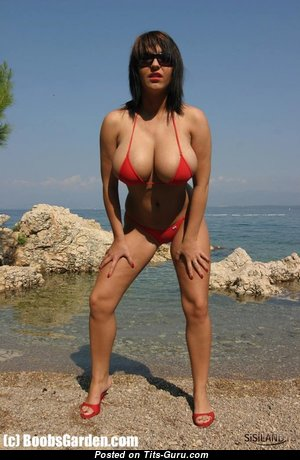 Hot Milf with Great Tits - Beautiful Glamour & Non-Nude Asian Brunette Wife, Babe & Mom with Beautiful G Size Titties in Bikini (Sex Pic)