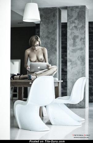 Image. Naked beautiful female with medium natural boobies image