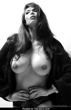 Image. Sexy nude asian brunette with medium natural boob and big nipples pic
