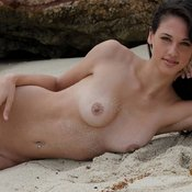 Nice lady with medium natural breast photo