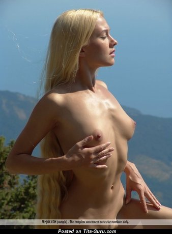 Naked wonderful woman with small natural tots pic