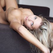 Blonde with medium natural boobies pic