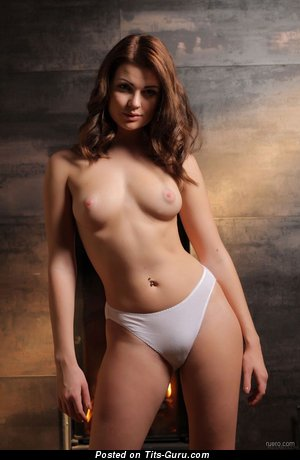 Naked hot woman with medium natural tittes photo
