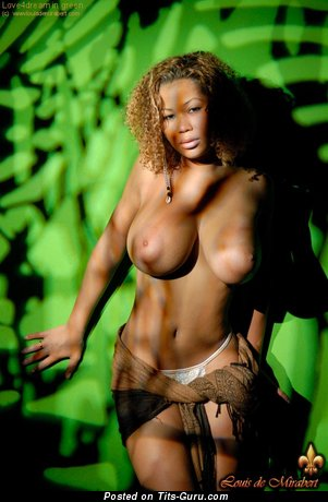Image. Ebony with huge natural tots and big nipples pic