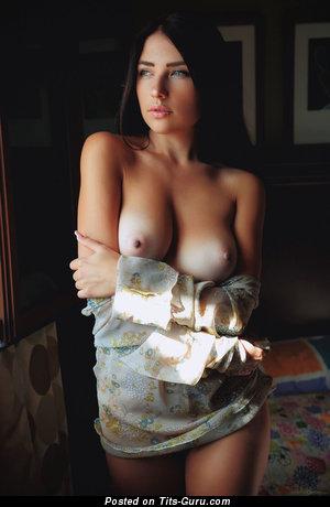 Splendid Brunette Babe with Splendid Defenseless Real Medium Sized Titties & Tan Lines (Hd Porn Image)