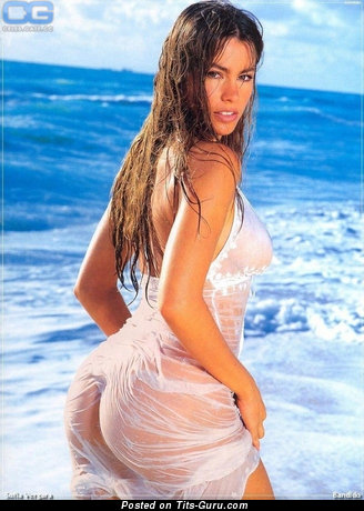 Sofia Vergara & Magnificent Topless & Wet Colombian Blonde, Brunette & Red Hair Actress with Magnificent Exposed Real Regular Melons & Puffy Nipples (Vintage Porn Image)