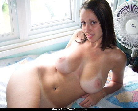 Image. Amateur nude brunette with big natural boob photo