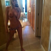 Blonde with medium boobs selfie