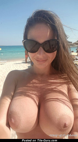 Pleasing Latina Brunette Babe with Pleasing Bald Sizable Busts & Red Nipples (on Public Selfie Hd Sexual Picture)