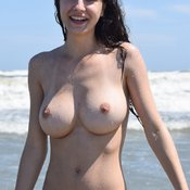 Lucie - topless brunette with big natural tittys picture