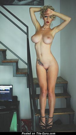 Image. Sexy nude blonde with tattoo picture