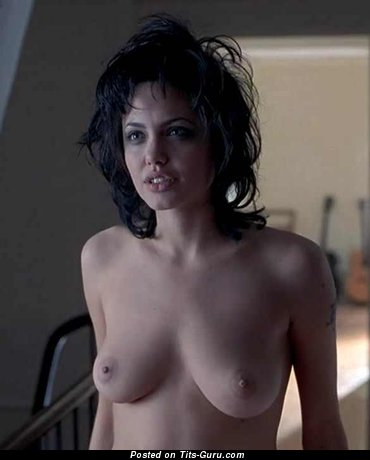 Angelina Jolie - The Best Topless American Brunette Babe & Actress with The Best Naked Real Med Tits & Tattoo (Sexual Photoshoot)