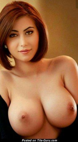 Image. Naked brunette with medium natural boobs image