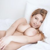 Beautiful lady with big natural tittes photo