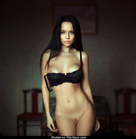 Image. Sexy amateur naked brunette with medium boob pic