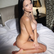 Brunette with medium natural breast photo