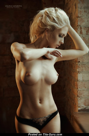 Image. Naked blonde with small natural tots and big nipples pic