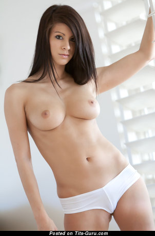 Alluring Topless Brunette with Alluring Exposed Real C Size Titties in Lingerie (Hd Sexual Image)