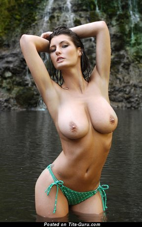 Image. Emma Twigg - sexy wet naked brunette with big natural tots image