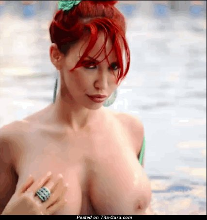 Bianca Beauchamp - Gorgeous Canadian Red Hair Jiggly Amazing Bare Sizable Boobies & Puffy Nipples (Porn Gif)