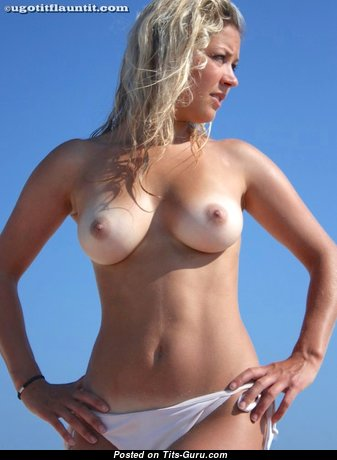 Natalie - Sexy Glamour Blonde with Sexy Open Natural Knockers, Red Nipples, Tan Lines (18+ Image)