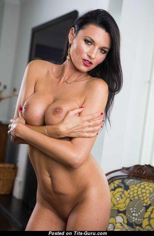Ania Kinski - Elegant Topless French Brunette Pornstar with Erect Nipples (Hd Porn Wallpaper)