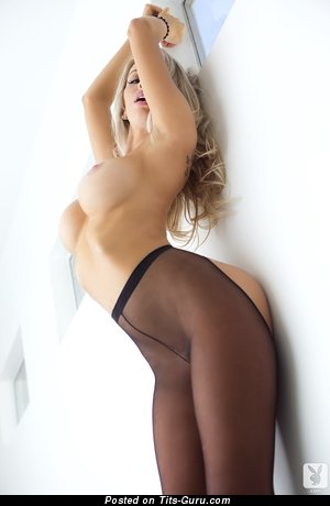 Yummy Blonde with Yummy Exposed Silicone Ddd Size Titty in Pantyhose (Hd Porn Wallpaper)