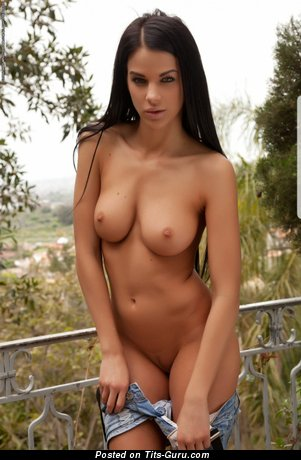 Handsome Brunette Babe with Handsome Naked Natural C Size Busts & Inverted Nipples is Undressing (Hd Porn Photoshoot)