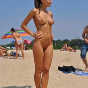 Topless amateur wonderful lady with medium natural breast picture