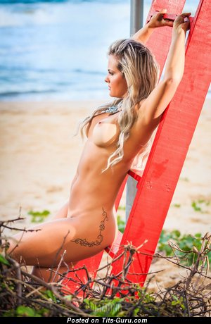 Maira Reis - Appealing Undressed Babe with Tattoo on the Beach (Hd Xxx Photoshoot)