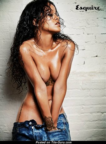 Rihanna - The Best Topless Ebony Brunette Singer & Actress with The Best Naked Real Soft Melons (Hd Xxx Photo)