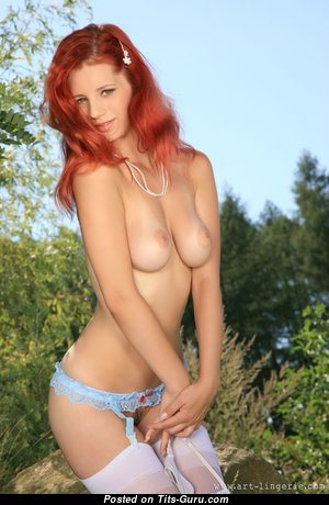 Ariel Piper Fawn - Exquisite Czech Red Hair Babe & Pornstar with Exquisite Exposed Real Minuscule Breasts & Inverted Nipples in Stockings (Hd Sex Picture)