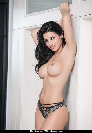 Alluring Glamour & Topless Brunette with Alluring Bare Fake Boob & Inverted Nipples (Porn Pic)