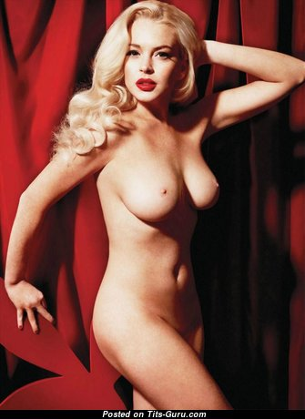 Lindsay Lohan & Appealing Topless & Glamour American Playboy Blonde & Red Hair Actress & Singer with Appealing Defenseless Natural Normal Titties, Weird Nipples, Sexy Legs (Vintage Sex Pic)