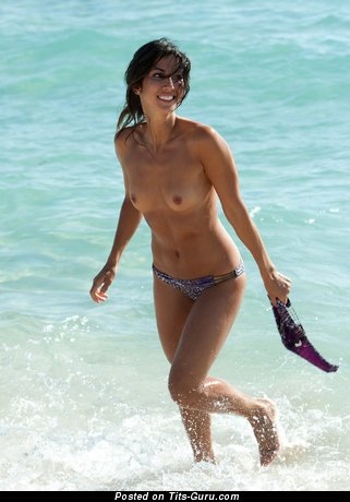 Image. Wet topless brunette with small natural boob pic
