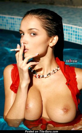 Eugenia Diordiychuk Aka Katie Fey Aka Shawnee Aka Jenya D Aka Jenya K - Yummy Brunette with Yummy Defenseless Natural Dd Size Busts is Smoking in the Pool (Hd Sexual Wallpaper)