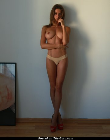Image. Sexy topless beautiful woman with natural tittes and big nipples photo