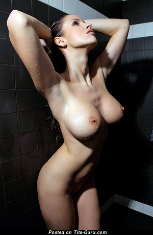 Image. Sexy wet topless beautiful woman with medium natural breast picture