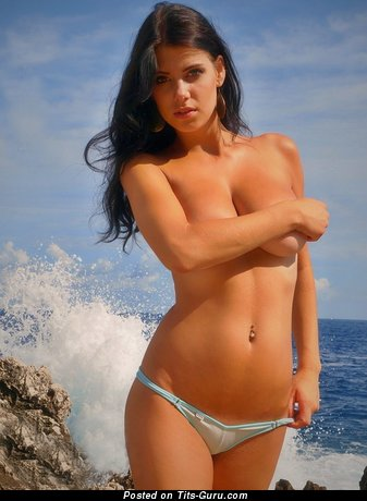 Image. Tereza P. - sexy topless amateur brunette with medium natural tits pic