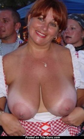 Awesome Topless Red Hair Mom with Awesome Naked Real Great Boobys, Red Nipples, Tan Lines is Undressing (Hd Porn Photoshoot)