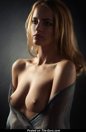 Good-Looking Topless Blonde Babe with Good-Looking Naked Real B Size Boobies (Sex Image)
