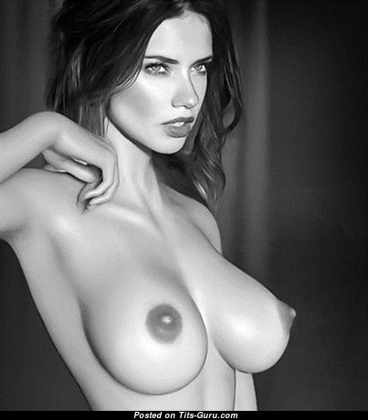 Magnificent Brunette with Delightful Naked Real Boobs (Sexual Image)