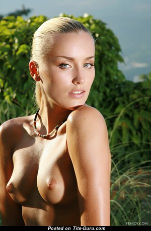 Delightful Blonde Babe with Delightful Naked Natural Medium Tittys (Hd Sexual Image)