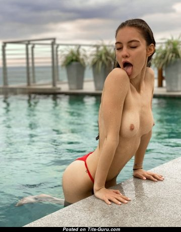 Graceful Topless Brunette Babe with Graceful Nude Natural Short Boob (Hd Porn Image)