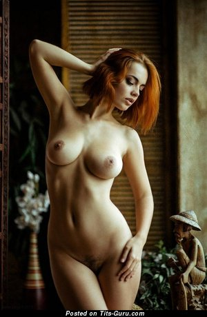 Image. Naked red hair with medium natural boob photo