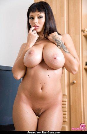 Deborah - Marvelous Brunette Girlfriend & Babe with Marvelous Bare Mid Size Melons & Inverted Nipples (18+ Wallpaper)