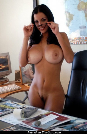 Charming Brunette Babe with Charming Bare Fake Very Big Tittys & Erect Nipples (Porn Photo)