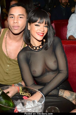 Rihanna - Cute Barbadian Brunette Actress & Singer with Cute Open Normal Knockers (Sexual Picture)
