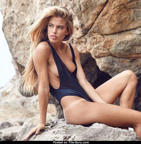 Jessica Goicoechea - Superb Non-Nude Blonde Babe with Superb Real Dd Size Tit, Tan Lines & Sexy Legs on the Beach (Xxx Pic)